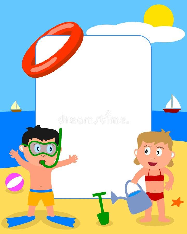 Miúdos & frame da foto da praia [2] ilustração do vetor