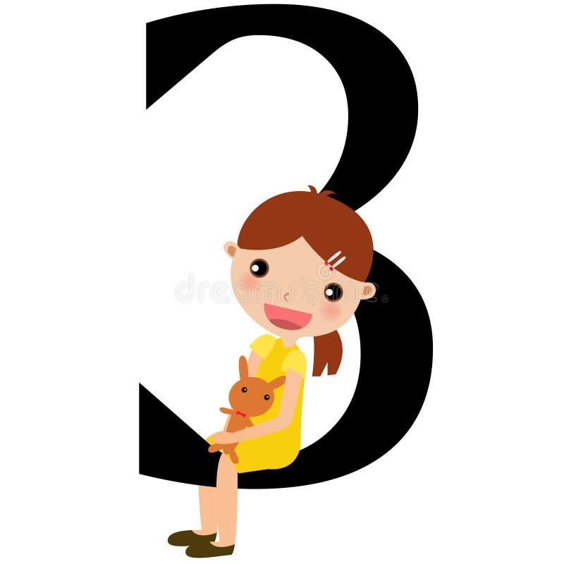 Miúdos & série -3 dos números ilustração do vetor