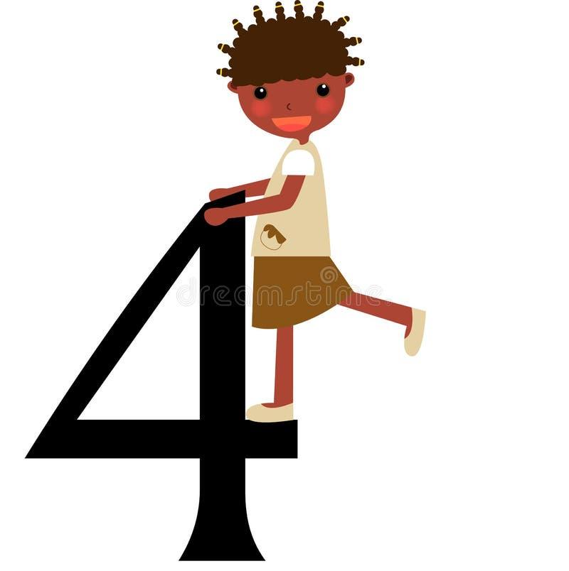 Miúdos & série -4 dos números ilustração do vetor