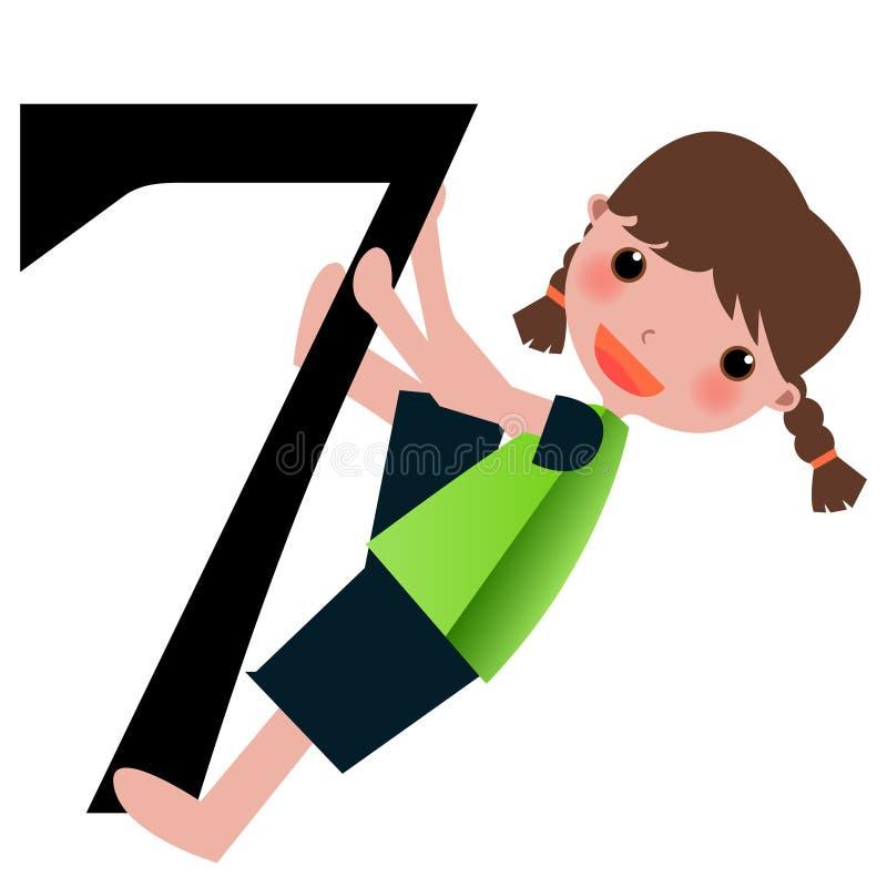 Miúdos & série -7 dos números ilustração royalty free