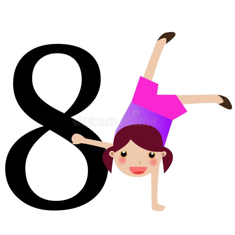 Miúdos & série -8 dos números ilustração do vetor