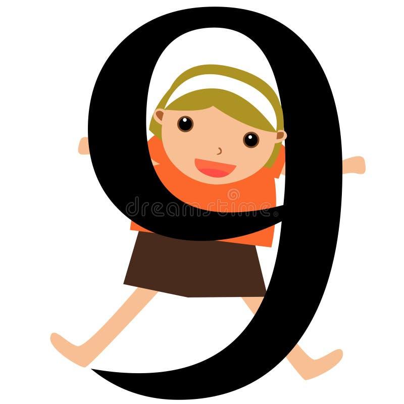 Miúdos & série -9 dos números ilustração royalty free