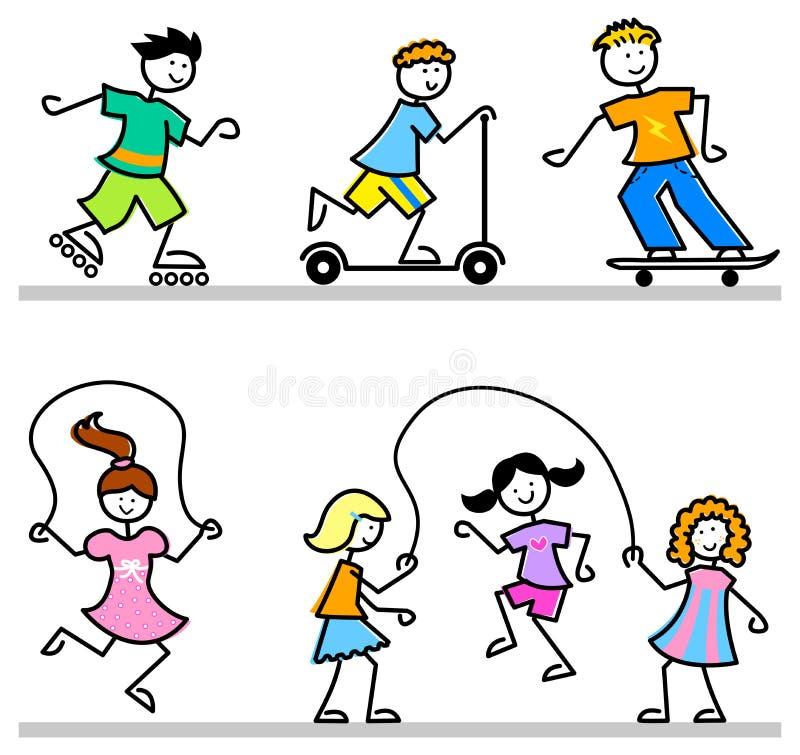 Miúdos ativos dos desenhos animados ilustração do vetor