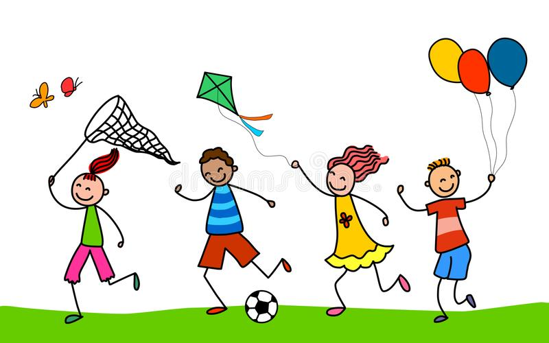 Miúdos ativos Jogo das crianças dos desenhos animados ilustração do vetor