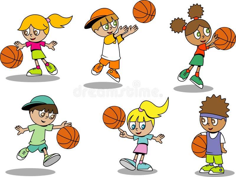 Miúdos bonitos do basquetebol ilustração royalty free