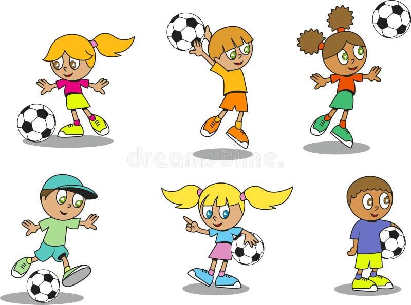 Miúdos bonitos do futebol ilustração royalty free
