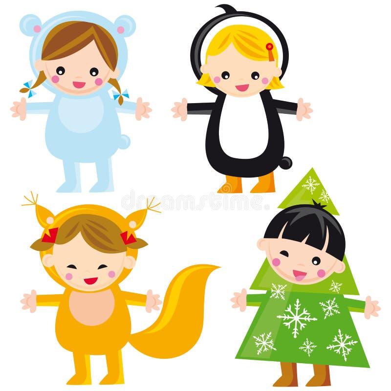 Miúdos bonitos do inverno ilustração stock
