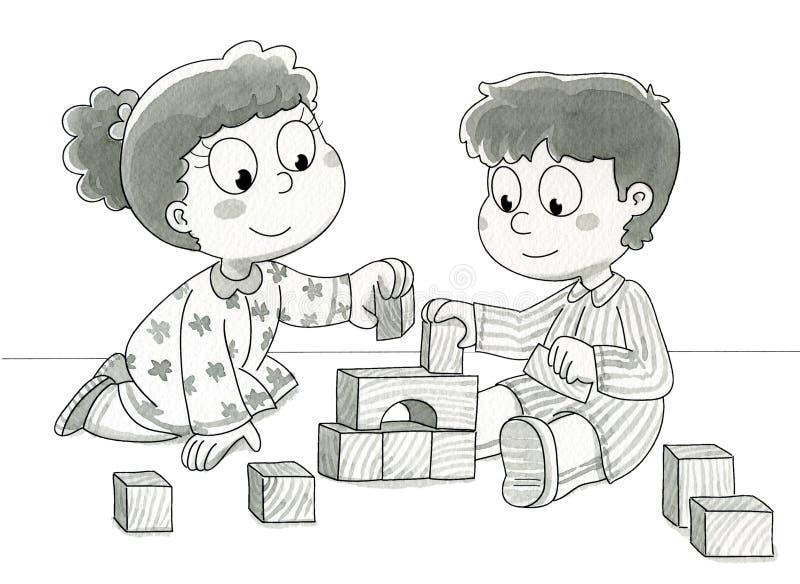 Miúdos Bonitos Que Jogam - Bw Fotos de Stock Royalty Free