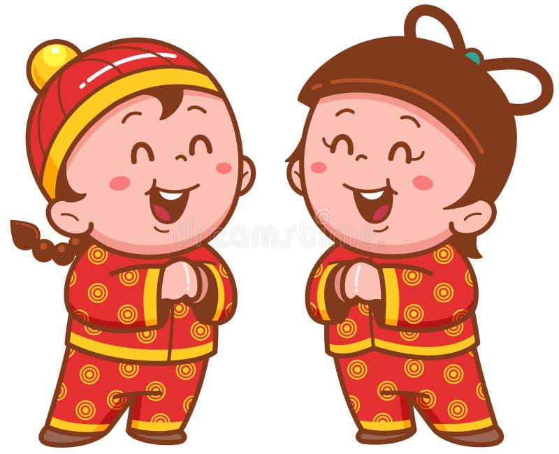 Miúdos chineses ilustração royalty free