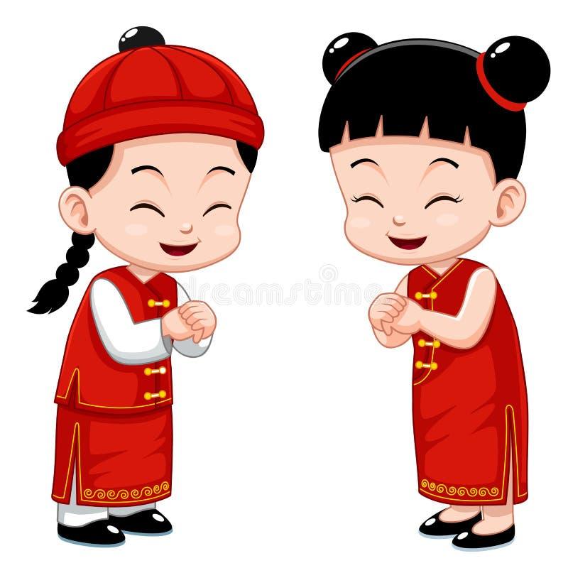 Miúdos chineses   ilustração do vetor