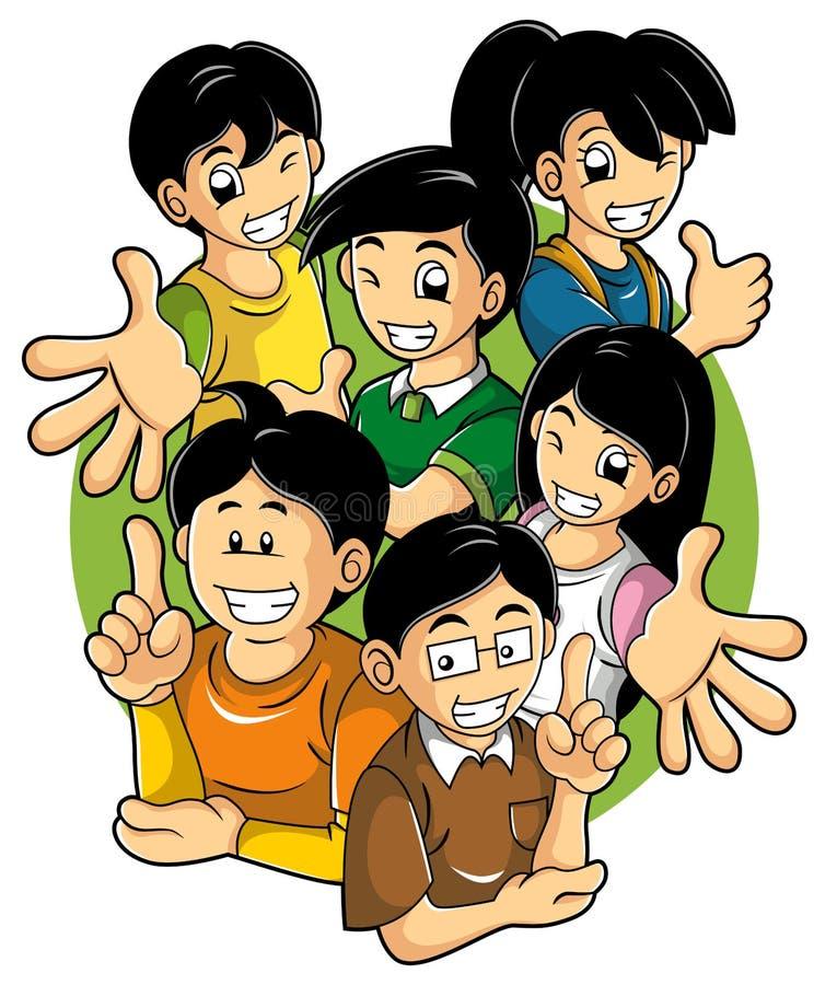Miúdos com boa atitude ilustração stock
