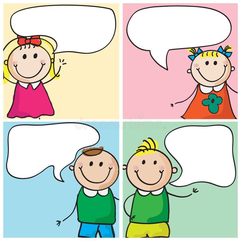 Miúdos com bolhas do discurso ilustração stock