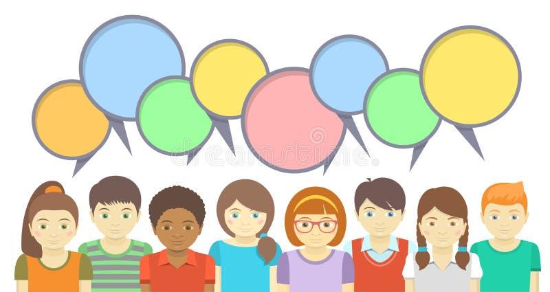 Miúdos com bolhas do discurso ilustração royalty free