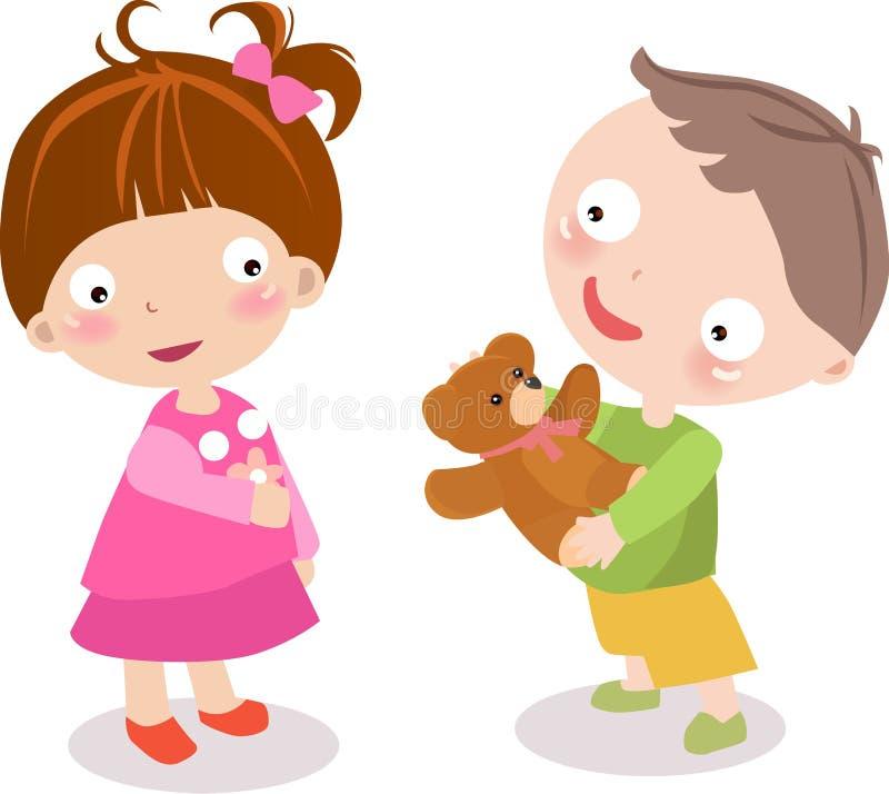 Miúdos com brinquedos ilustração royalty free