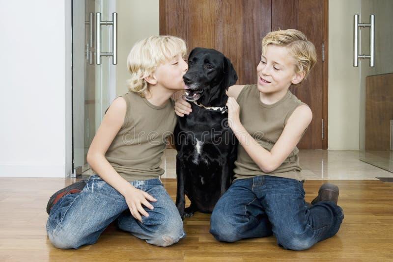 Miúdos com cão em casa imagem de stock