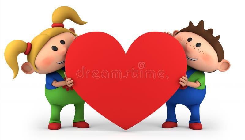 Miúdos com coração ilustração royalty free