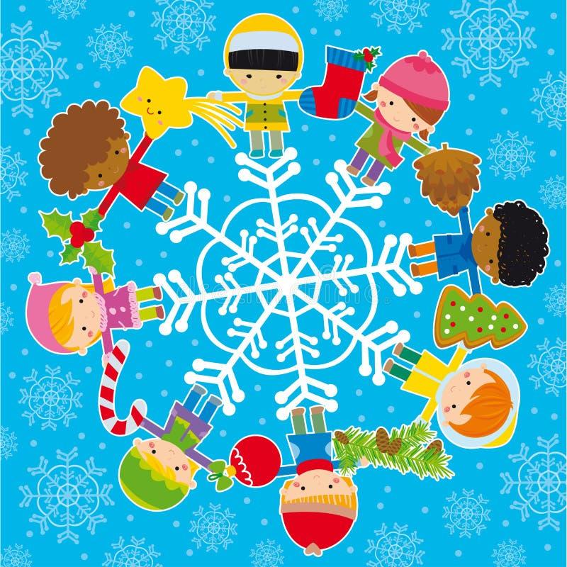 Miúdos com elementos do Natal ilustração do vetor