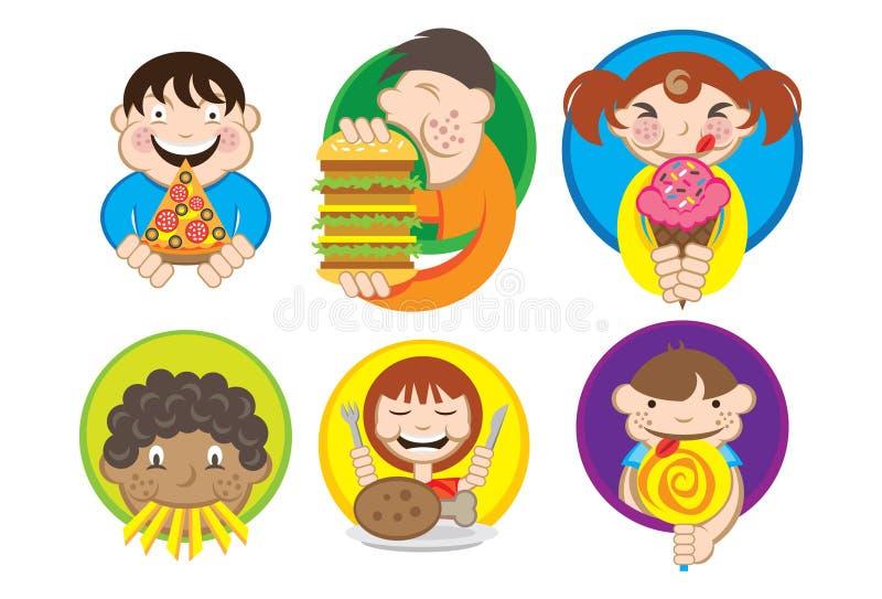 Miúdos com fome ilustração do vetor