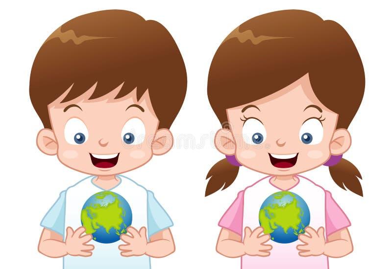Miúdos com globo ilustração do vetor