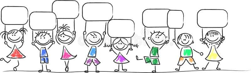 Miúdos com Tag ilustração do vetor