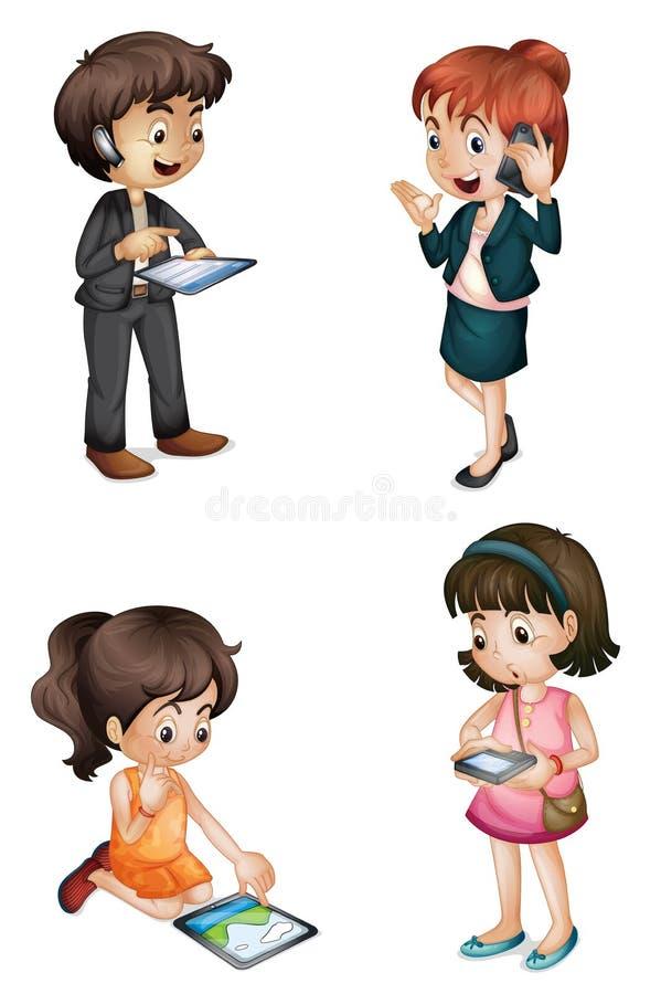 Miúdos com várias atividades ilustração stock