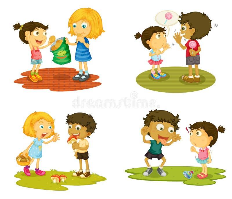 Miúdos com várias atividades ilustração royalty free