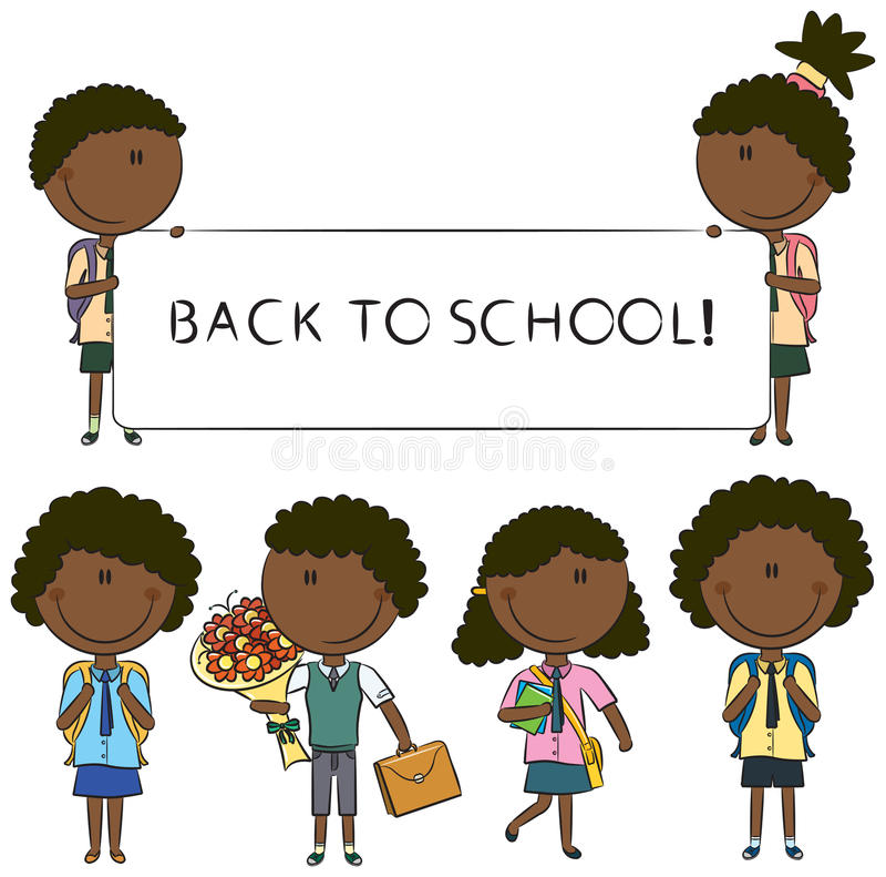 Miúdos da escola do African-American de Cheerfull ilustração royalty free