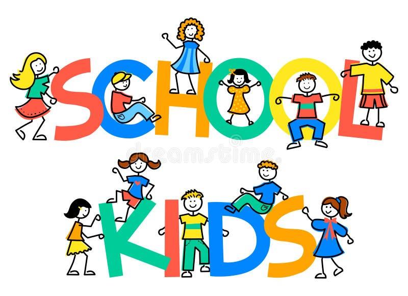 Miúdos da escola dos desenhos animados ilustração do vetor