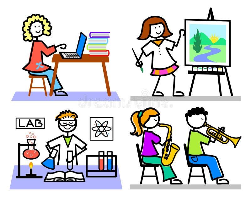 Miúdos da escola dos desenhos animados ilustração royalty free
