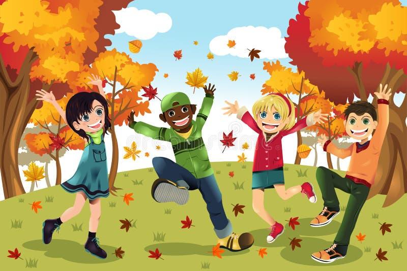 Miúdos da estação de queda do outono ilustração royalty free