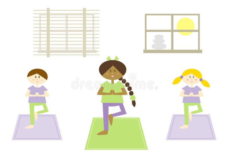 Miúdos da ioga (vi) ilustração do vetor