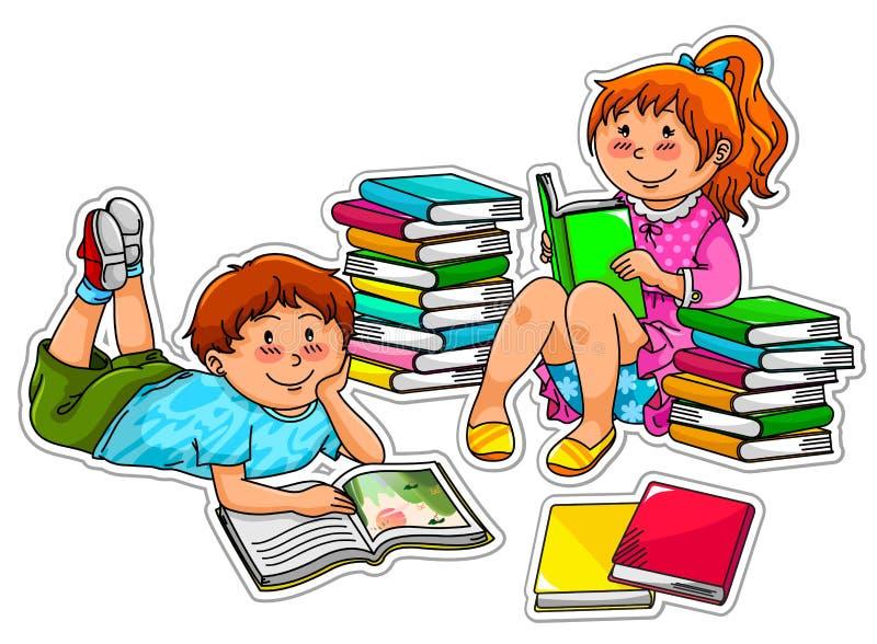 Miúdos da leitura ilustração stock