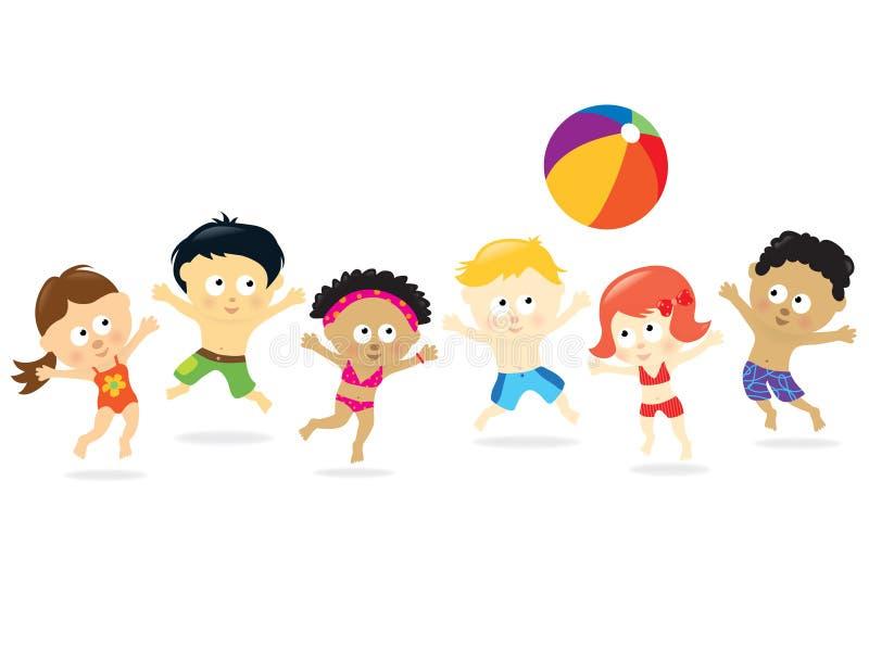 Miúdos da praia - multi étnico ilustração stock