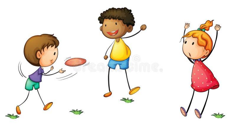 Miúdos de Frisby ilustração stock