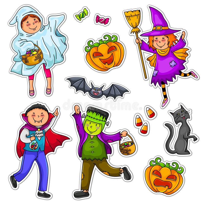Miúdos de Halloween ilustração do vetor