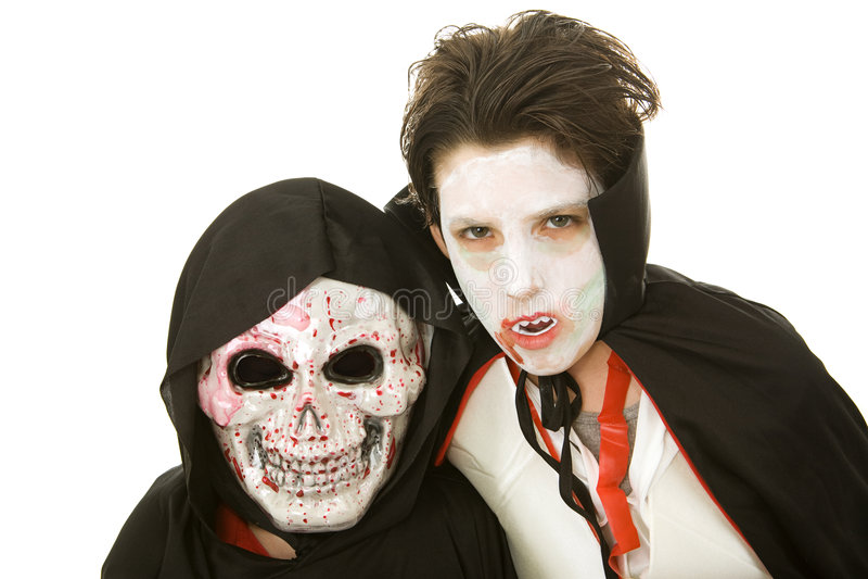 Miúdos de Halloween - assustadores foto de stock royalty free