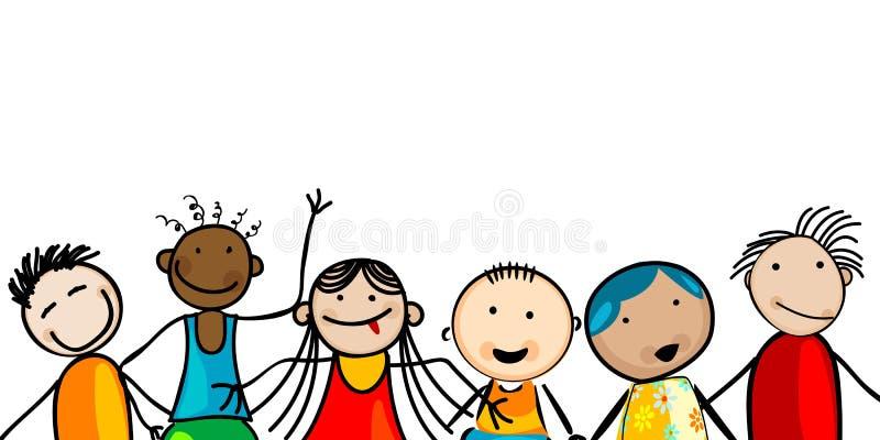 Miúdos de sorriso das faces ilustração do vetor