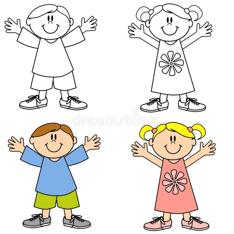 Miúdos de sorriso felizes bonitos ilustração stock