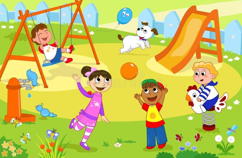 Miúdos de sorriso que jogam no campo de jogos ilustração do vetor