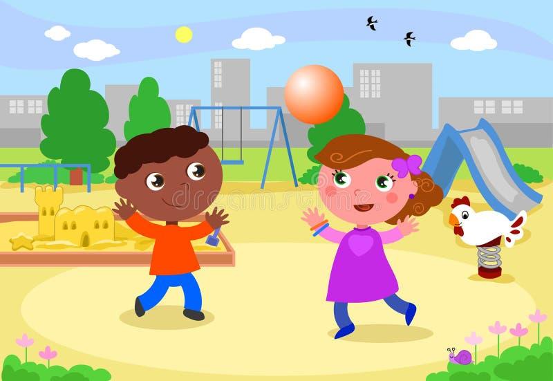 Miúdos de sorriso que jogam no campo de jogos ilustração royalty free