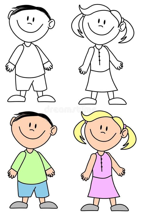 Miúdos de sorriso simples ilustração stock