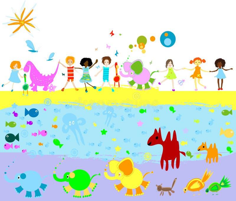 Miúdos, dinossauros e o outro litt ilustração do vetor