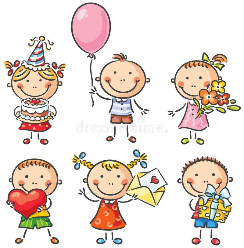 Miúdos do aniversário ilustração royalty free