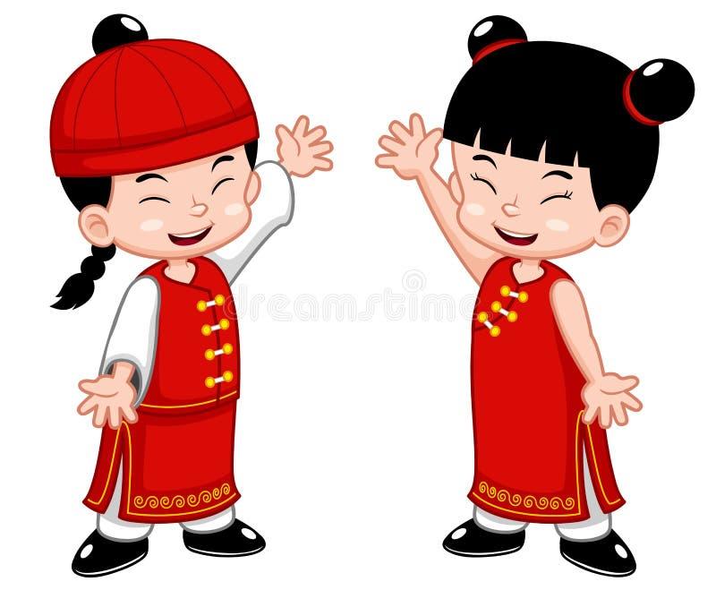 Miúdos do chinês dos desenhos animados ilustração do vetor