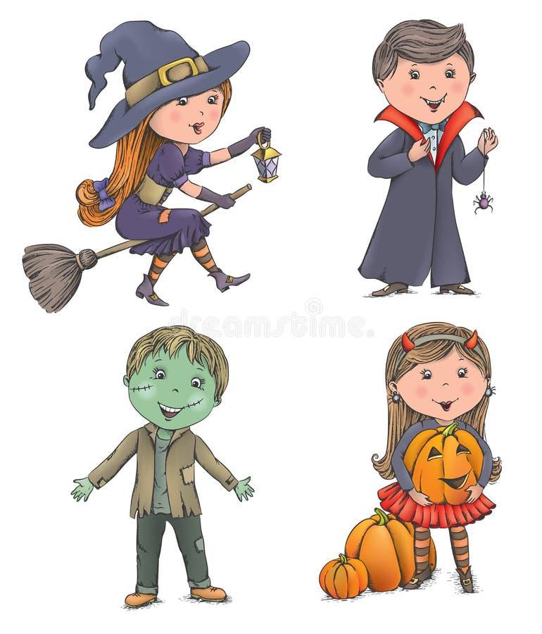 Miúdos do Dia das Bruxas ilustração stock