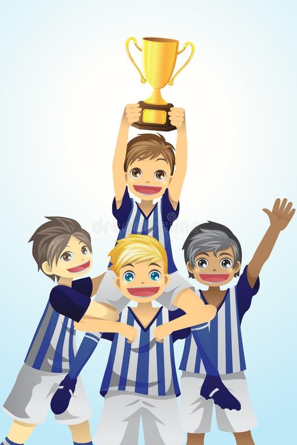 Miúdos do esporte que levantam o troféu ilustração stock