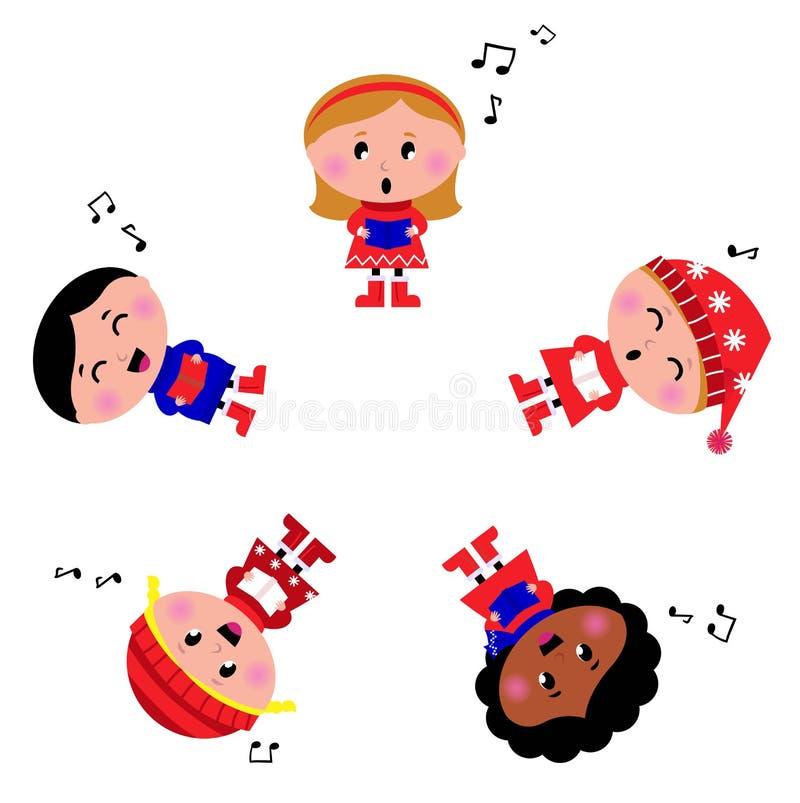 Miúdos do inverno que cantam a canção silenciosa da noite. ilustração stock