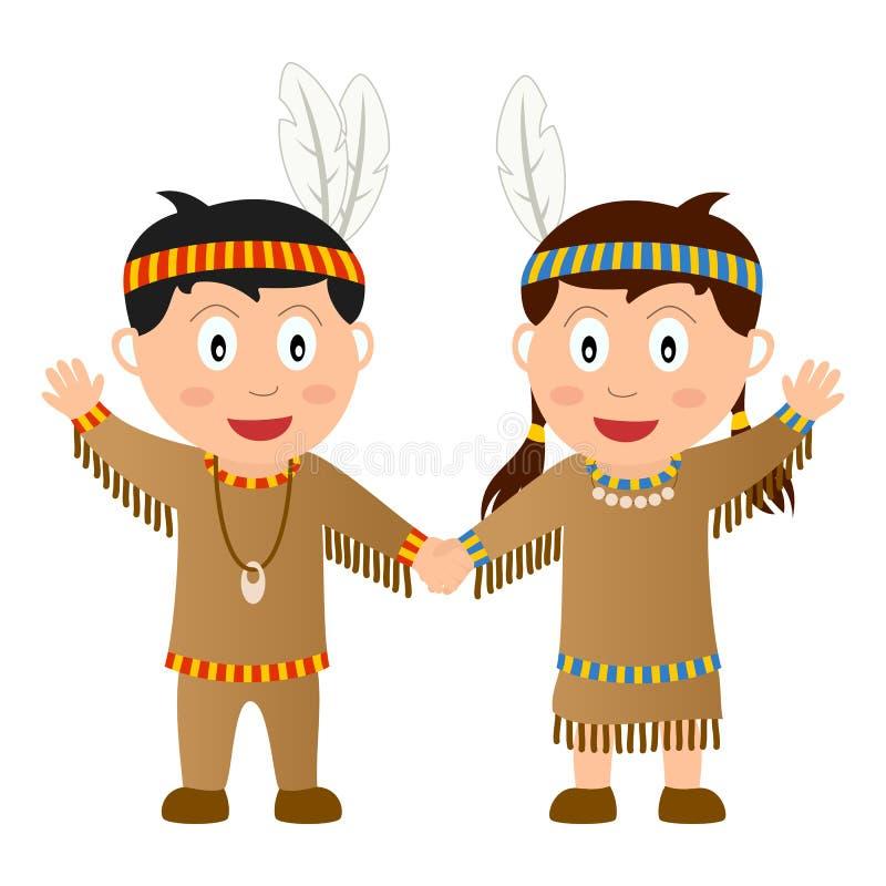 Miúdos do nativo da acção de graças ilustração do vetor