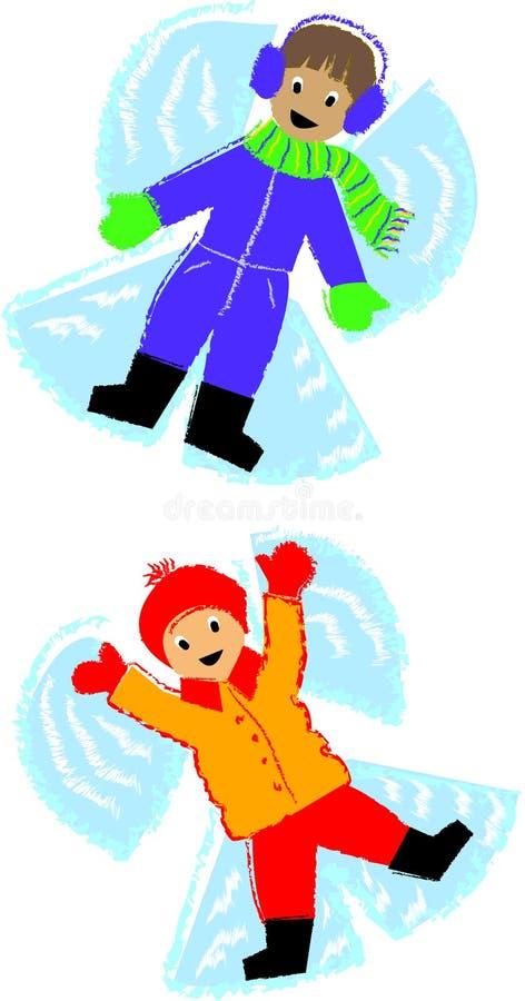 Miúdos do Neve-Anjo ilustração do vetor