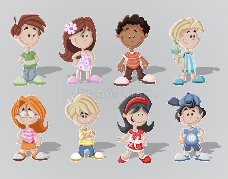 Miúdos dos desenhos animados ilustração royalty free